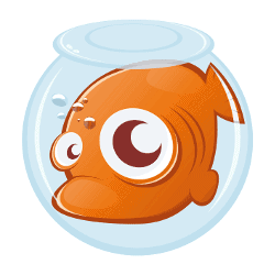 Cartoon graphic of a goldfish in a cramped bowl with one large eye