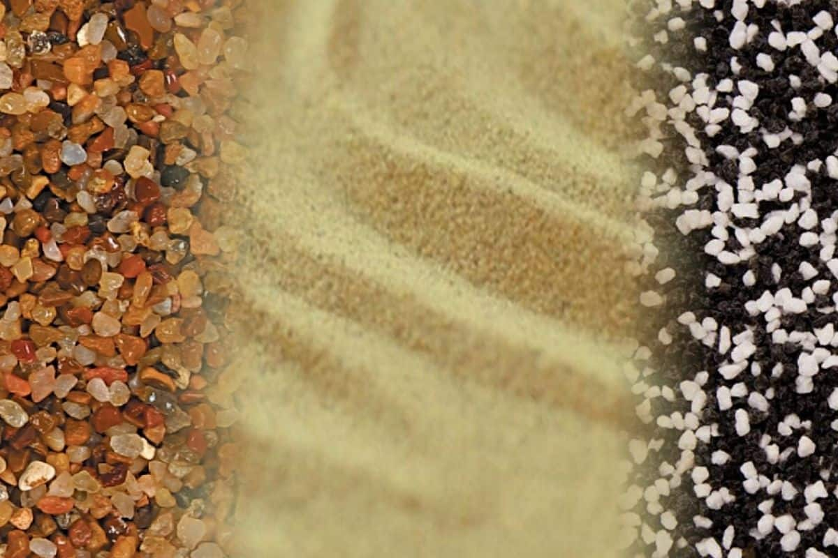 A photo montage of 2 types of aquarium gravel and sand