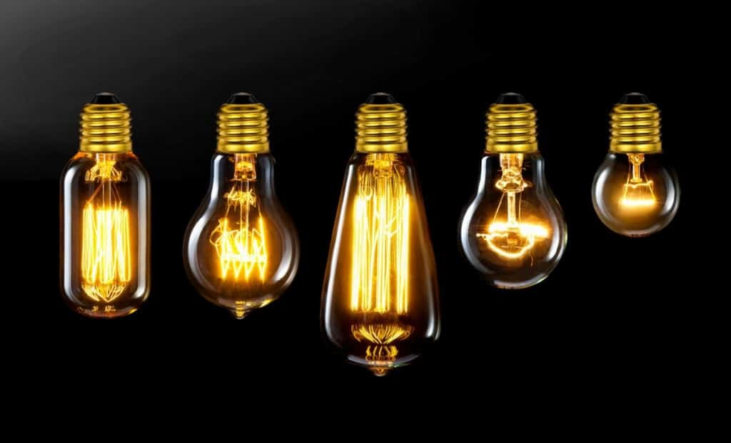 Incandescent Bulbs lit against a black background