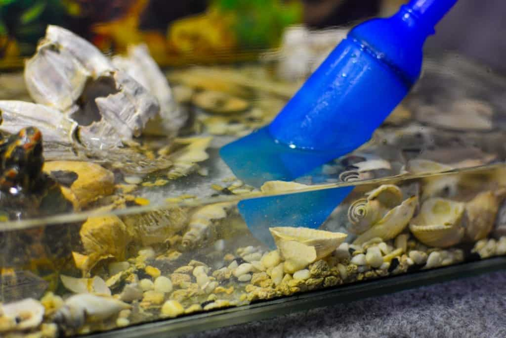 half empty fish tank being syphoned out with a gravel vacuum
