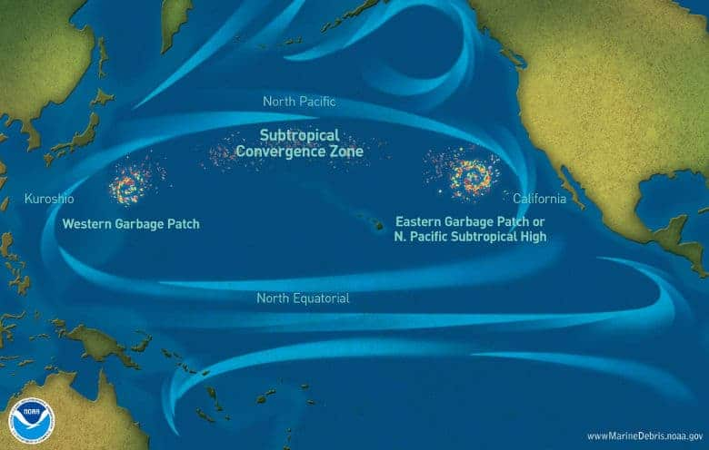 Image of the location of the great pacific garbage patch from the NOAA