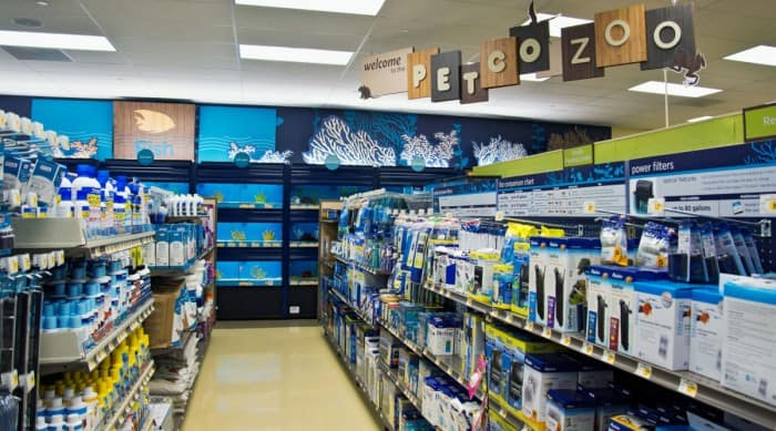 Photo of a local fish store shelves and aisles