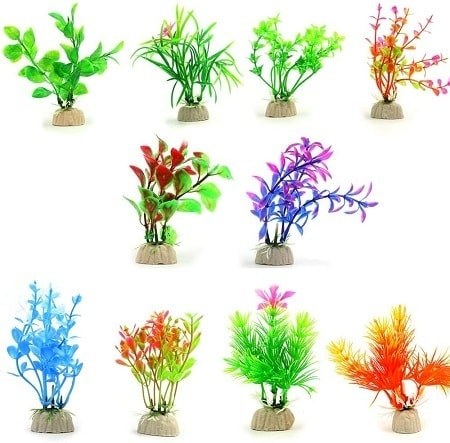 6COMSUN 10 Pack Artificial Aquarium Plants